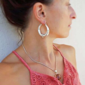 Large ethnic silver hoops