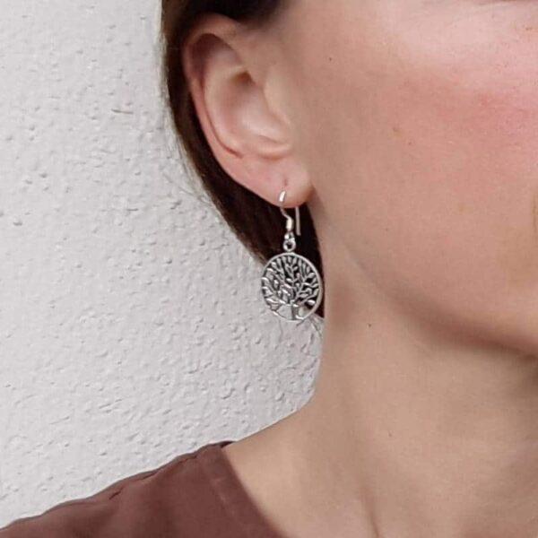 Boucles d'oreilles argent massif arbre de vie