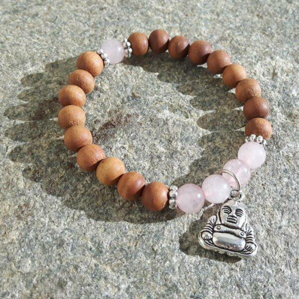 Bracelet zen bois de santal & quartz rose - Omyoki