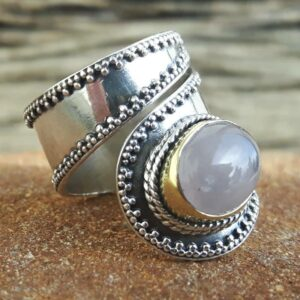 Rose quartz silver ring, adjustable