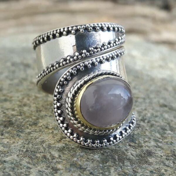 Bague argent quartz rose, ajustable