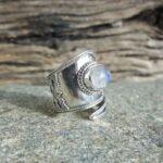 Bague pierre de lune argent ajustable Omyoki