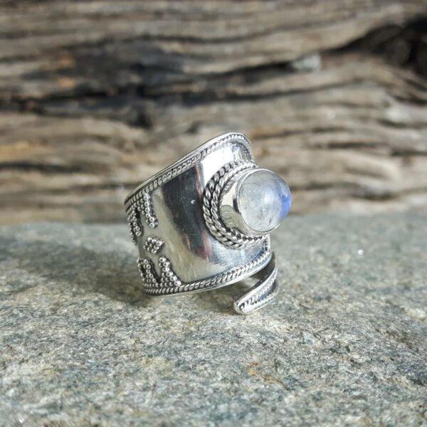 Bague pierre de lune argent ajustable