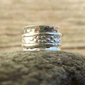 Fine silver meditation ring PI
