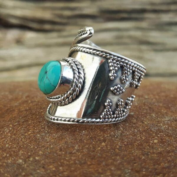 Bague turquoise large ajustable