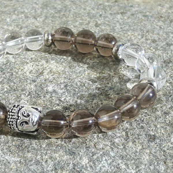Bracelet detox quartz fumé et cristal - Omyoki