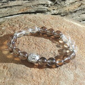 Detox bracelet in smoked quartz and crystal - Omyoki