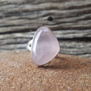 Bague quartz rose & argent 925 Omyoki