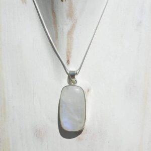 Omyoki Silber Mondstein Anhänger