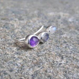 Boucles d'oreilles earlobe améthyste - Omyoki