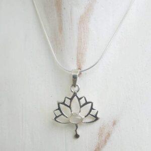 Pendentif fleur de lotus pierre de lune - Omyoki