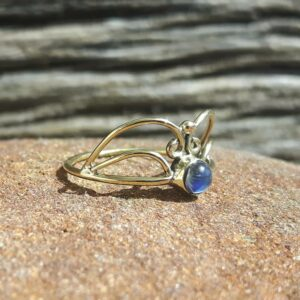 Fine ring with rainbow moonstone