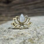 Golden lotus flower ring