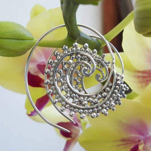Boucles d'oreilles spirale argent