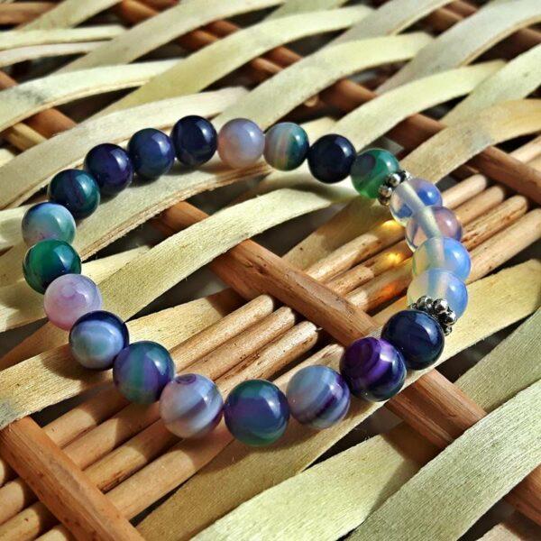 Bracelet rivière en agate et pierre de lune - Omyoki