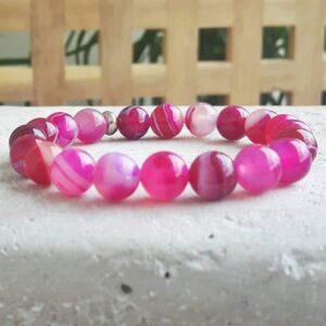 Fushia rosa Achat Armband