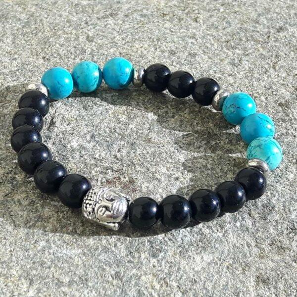 Bracelet YIN YANG en onyx et turquoise
