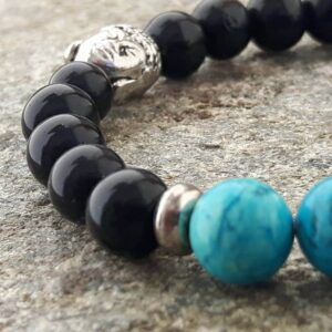 YIN YANG bracelet in onyx and turquoise