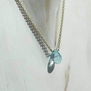 Gold blue topaz necklace