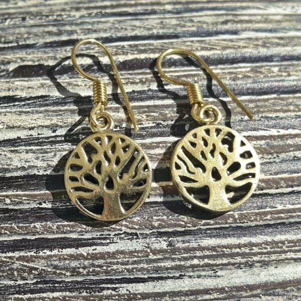 Boucles d'oreilles arbre de vie dorées