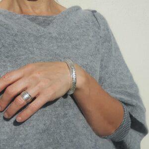Sterling Silber halb gehämmertes Armband