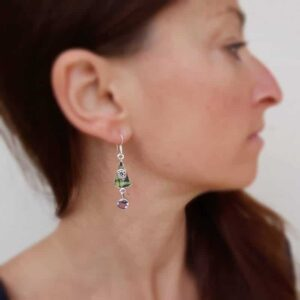 Silver earrings and grape topaz