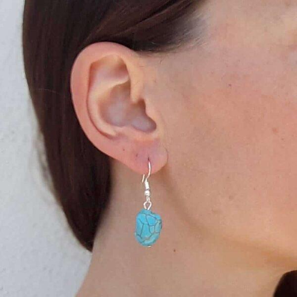 Boucles d'oreilles fantaisie turquoise