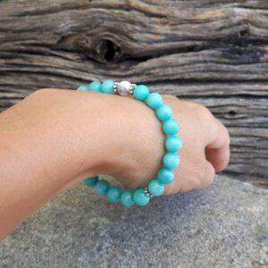 Bracelet en hémimorphite bleue