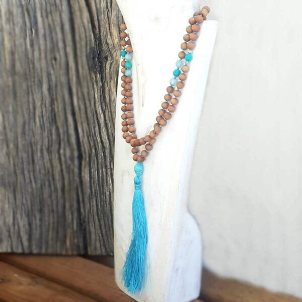 Collier mala Aromathérapie (santal & turquoise)