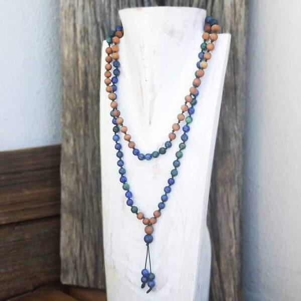 Collier mala en lapis lazuli Aromathérapie