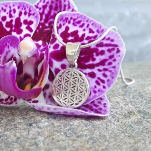 Pendant flower of life fine silver