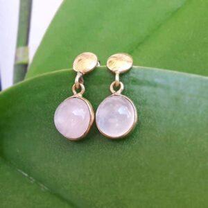 Boucles d'oreilles quartz rose ELA