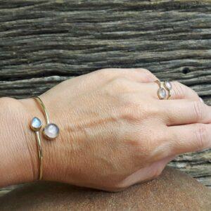Bracelet jonc quartz rose PI