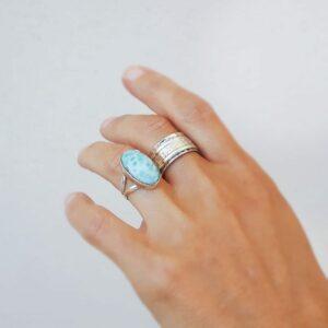 Larimar cabochon ring