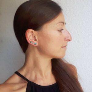 Golden turquoise earrings