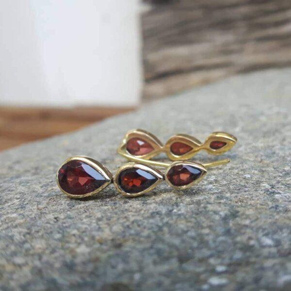 Boucles d'oreilles grenat dorées JOY