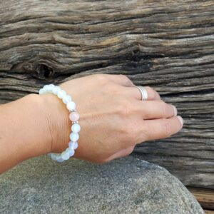 Bracelet FEMININE moonstone and pink quartz
