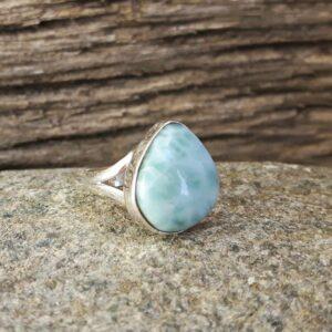 Silber Larimar Ring Lagune