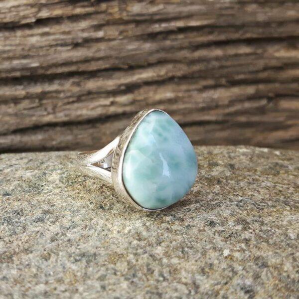 Silver larimar ring LAGON