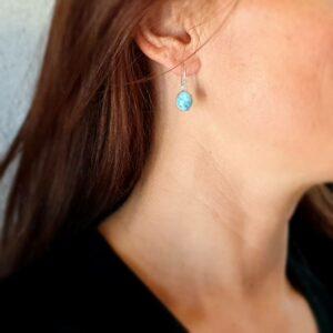 Boucles d'oreilles larimar argent