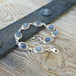 Adjustable silver labradorite bracelet