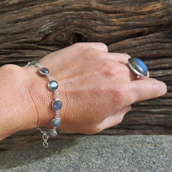 Bracelet labradorite bleue argent