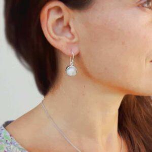 Boucles d'oreilles pierre de lune argent