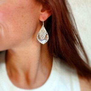 Boucles d'oreilles feuilles d'argent