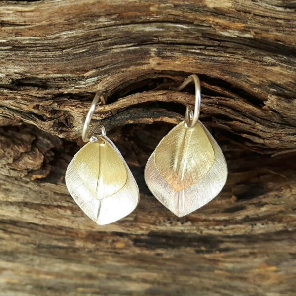 Boucles d'oreilles pétales or-argent
