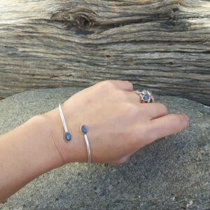 Bracelet jonc labradorite bleu