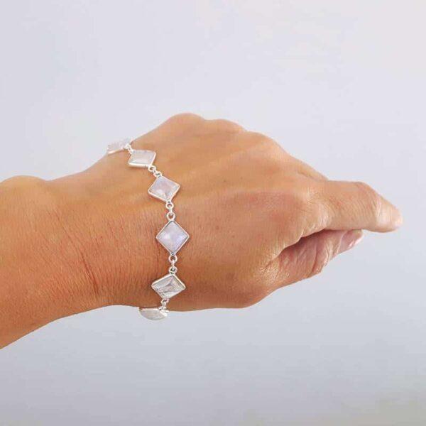 Bracelet pierre de lune losanges