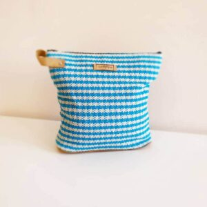 SHANTI ethical toilet bag blue-white