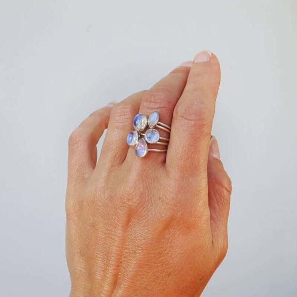 Bague anneaux multiples pierre de lune