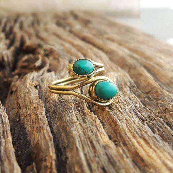 Bague fantaisie turquoise ajustable